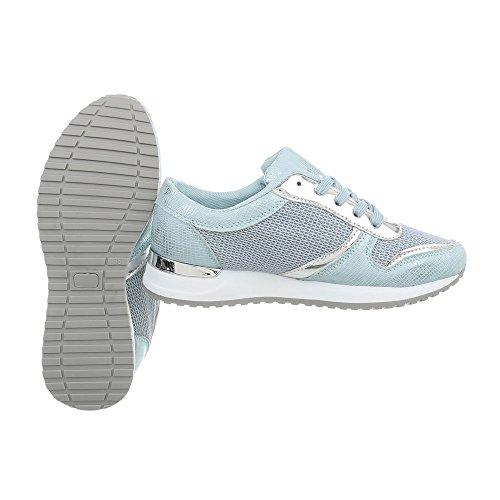Ital-Design Low Top Sneakers Damenschuhe Kinderschuhe Fashionsneaker Freizeitschuhe Hellblau 66-07