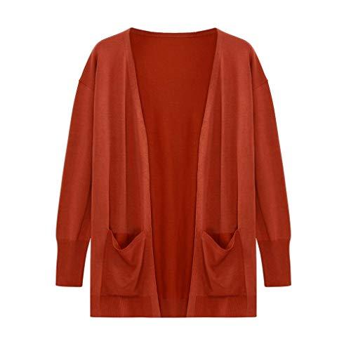 AIMEE7 Cardigan en Tricot Femmes Solide Manteau  Manches Longues Retro Lache Haut Orange