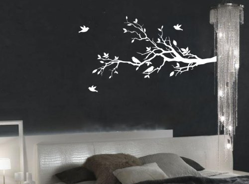 """Tree Branches Wall Decal Love Birds Vinyl Sticker Nursery Leaves 56"""" Wide X 28"""" High (Right to Left, Matte White)"""