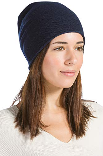 Fishers Finery Women's 100% Pure Cashmere Winter Slouchy Beanie (Navy)