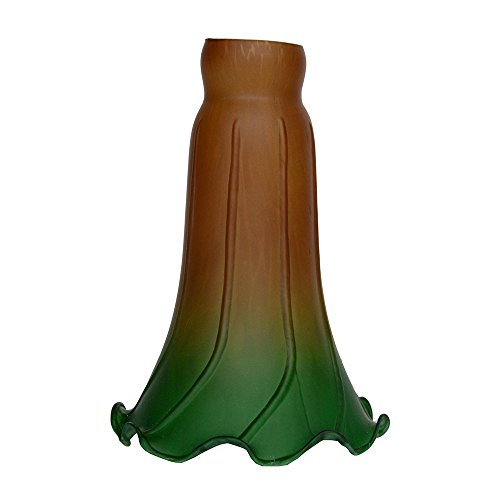 Green Pond Lily - Amber Green Pond Lily Flower Glass Lampshade Replacement Lighting Accessories Fittings