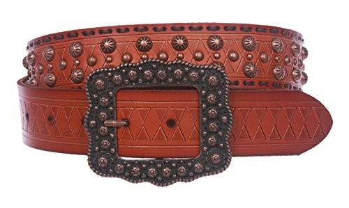 1 1/2 '' Womens Western Snap On Studded Leather Belt Size: 34 Color Tan