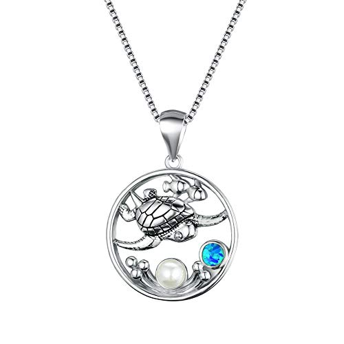 Blue Turtle Pendant Women's 925 Sterling Silver Blue Sea Turtle Stretching Pendant Necklace 18