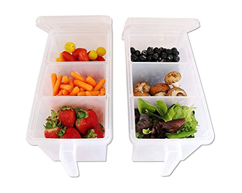 Samplus Mall Pack of 2 Refrigerator Organizer Container Square Handle Food Storage Organizer Boxes - Clear with Lid, Handle and 3 Smaller Bins