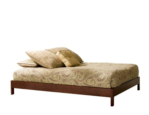 Bed Plantation Queen - Murray Platform Bed with Wooden Box Frame, Mahogany Finish, Queen