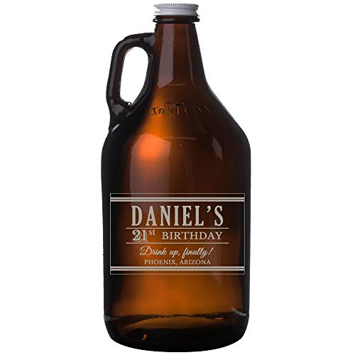 (Personalized Etched 64oz Amber Growler for Birthday Gifts)