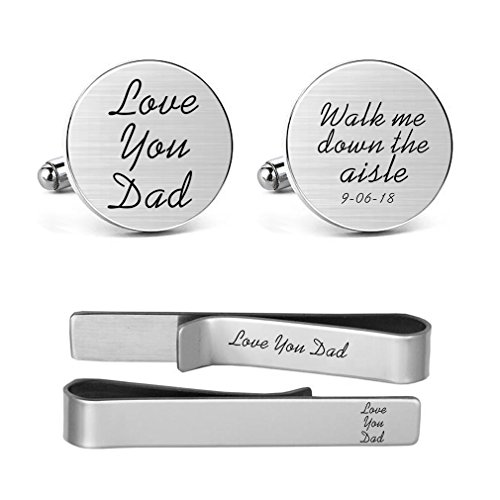 MUEEU Dad Wedding Cufflinks Engraved Walk Me Down The Aisle Love You Dad Father Stepfather Gift Idea (Dad Round Cufflinks and 1 Tie Clip) ()
