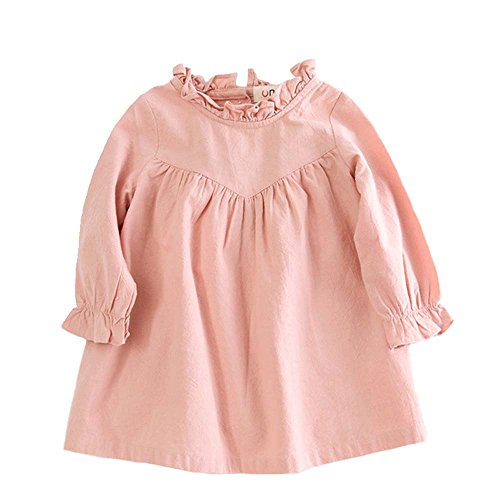 VIYOO Toddler Girl Long Sleeve Dress Casual Cotton and Girl Linen Dress Clothing, Pink, 1-2 Y/Height:31-33