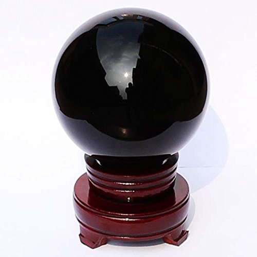 """I-Mart 2"""" (50mm) Natural Black Obsidian Divination Sphere Crystal Ball with Stand"""