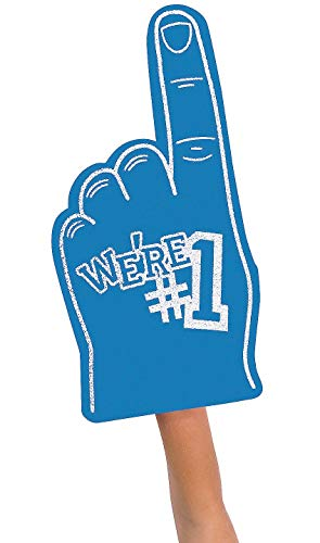 FX We're Number #1 Finger Team Color Cheerleading Foam Hand (Blue) -