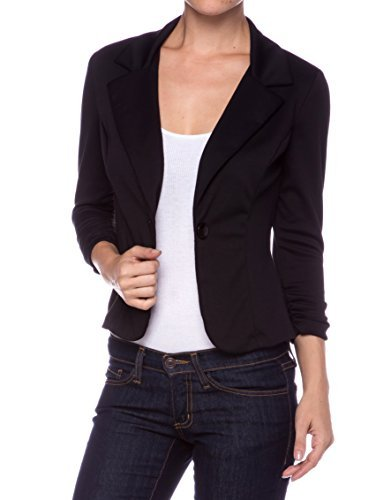 Black Fitted Jacket (A.S Juniors Casual Three Quarter Sleeve Fitted Blazer-Black-Small)