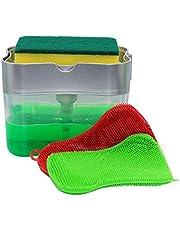 GK5 Kitchen Soap Pump Dispenser, Antibacterial Silicone Sponge Holder 2-in-1 - 2 Pack Multipurpose Antibacterial Cleaning Silicone Sponge - One-Handed Design - Countertop Soap Dispenser - 13 oz (Silver)
