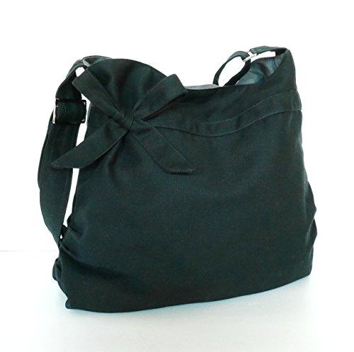 Virine black shoulder bag, cross body bag, messenger bag, everyday bag, handbag, travel bag, tote, bow, women - ANNIE by Virine