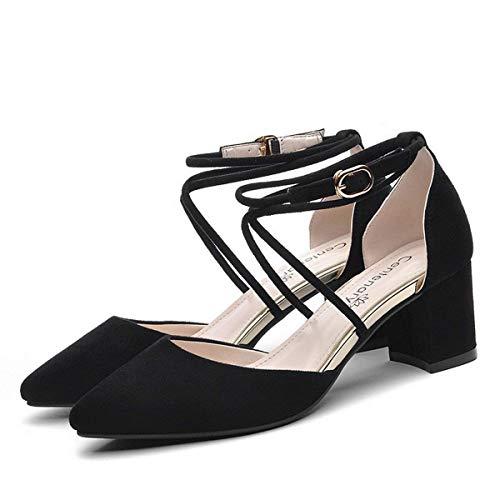 Noir Bout Taille Grande Noir Hauts coloré Oudan Cravates Talons Dame Simples Pointu Chaussures 39 58wOPwzq