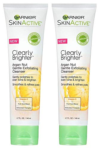 Garnier SkinActive Clearly Brighter Argan Nut Gentle Exfoliating Cleanser, 4.7 fl oz (Pack of 2)