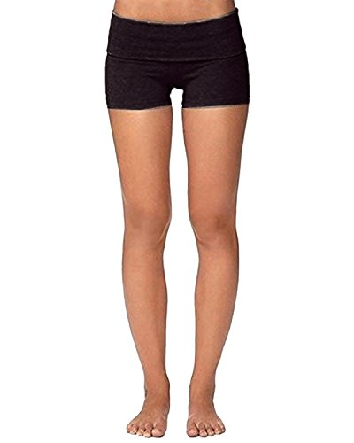 PODOM Women Yoga Fold Over Shorts Active Stretch Bottoms