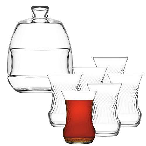 Turkish Tea Set 13 Piece Premium Turkish Tea Set, 6PCs Clear Glass Tea Cups, 6PCs Glass Saucers and Stylish Glass Sugar Bowl