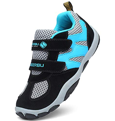 (DADAWEN Kid's Breathable Outdoor Hiking Sneakers Strap Athletic Running Shoes Black/Blue US Size 1 M Little Kid)