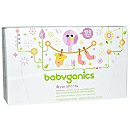 Babyganics Dryer Sheets, 120 Count 2 Pack