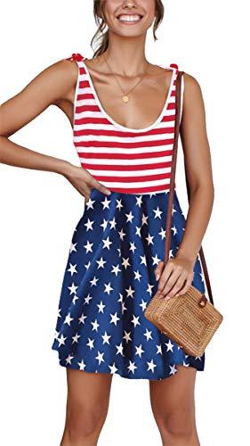 Women's Beach Summer Casual Mini Dress Tie Strap A Line Sleeveless Sundress American Flag S ()