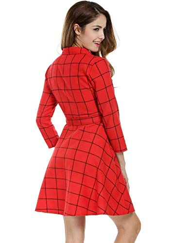 4 Dress Lapel A Belted Women line Swing Red 3 Plaid OYTRO Shirt Sleeve Casual wHxt7pBq
