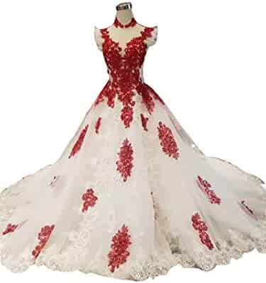 fa73292df45 YIMISTYLE DRESS Women's Luxury White Ball Gown Bridal Dresses Red Beads  Trailing Wedding V-Neck