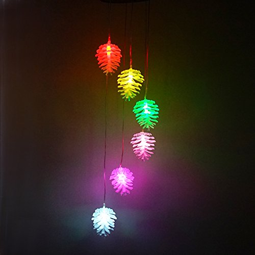 Color Changing Solar Power Wind Spinner Mobiles Light for Home Garden Patio Lawn Landscape Pond Pool Yard Decor, Pine Cones LED Night Light Hanging Lamp (Pine - Light Night Pinecone