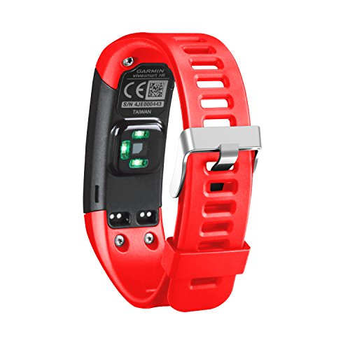 Adjustable Silicone - Band for Garmin Vivosmart HR, Soft Adjustable Silicone Replacement Wrist Watch Band Accessory for Garmin Vivosmart HR (No Tracker, Replacement Bands Only) (Red)