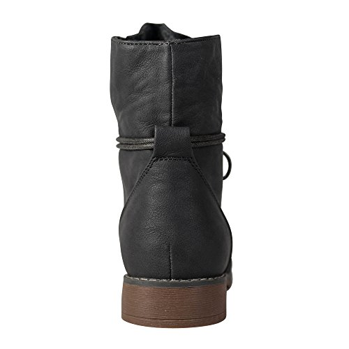 Damen Stiefeletten Boots Schnürboots Stiefel ST853 leicht gefüttert Grau