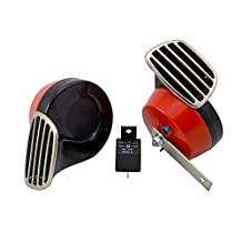 RED Black Twin TRUMPET SNAIL High/Low Tone 12v Volt Electromagnetic Loud Dual Replacement HORN Compact Complete Universal Kit with Brackets Relay Hardware for Dodge Challenger Charger Dakota Durango Caravan Ram 1500 2500 3500 Jeep Wrangler Renegade CJ5 CJ7 CJ8 Grand Cherokee Truck SUV
