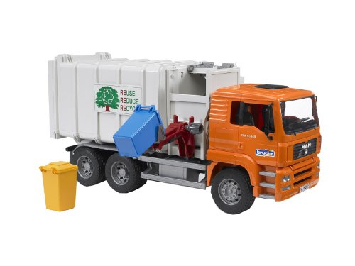 Best Gifts for 5 Year Old Boys Bruder Toys Man Side Loading Garbage Truck Orange