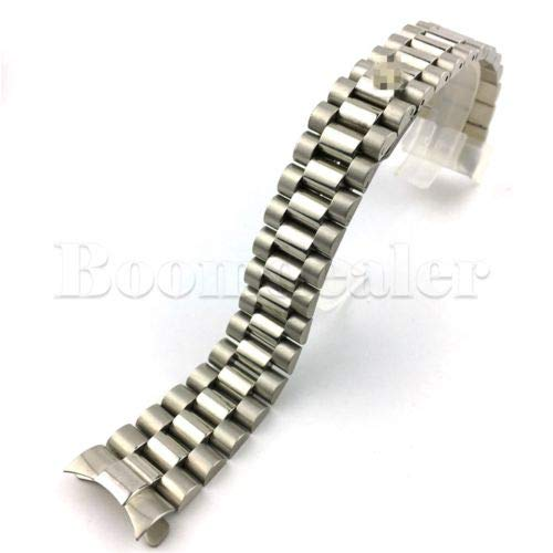 FidgetGear 20mm Gold Silver Watch Band Strap Solid Link Curved End President Style Bracelet Silver