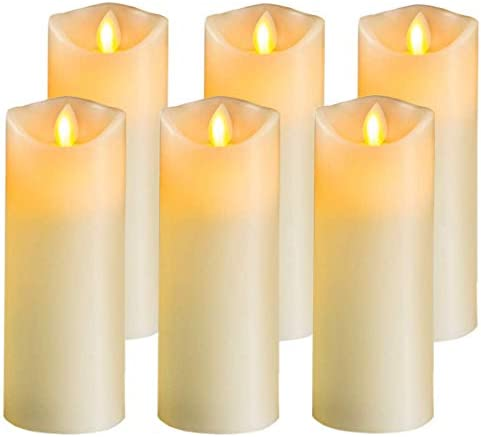 Flameless Candles Led Candles Pack of 6 Battery Candles D2 x H5 Include Realistic Dancing LED Flames Amber Yellow Flickering Flameless Window Candles for Table Centerpieces for Home and Wedding