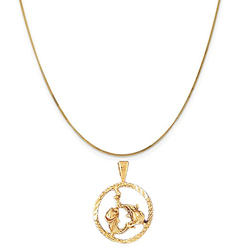 14k Yellow Gold Zodiac - Pisces Pendant on a 14K Yellow Gold Curb Chain Necklace, 16'' by Eaton Creek Collection
