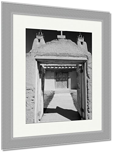 Ashley Framed Prints San Jose De Gracia Catholic Church In Las Trampas Along The High Road To Taos, Wall Art Home Decoration, Black/White, 30x26 (frame size), Silver Frame, AG6533317 by Ashley Framed Prints