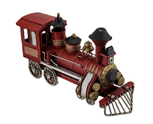 Zeckos Metal Statues Red Vintage Finish Classic Steam Eng...