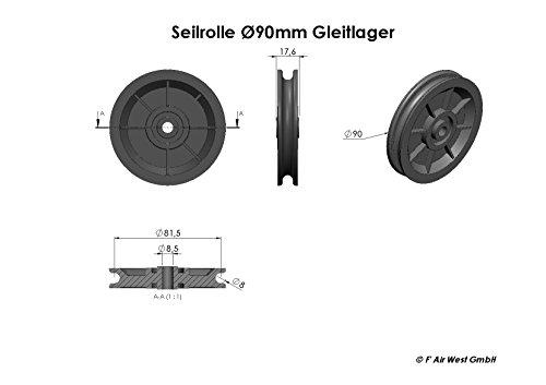 Seilrolle, Umlenkrolle mit Gleitlager 90 mm, Drahtseilrolle mit ...