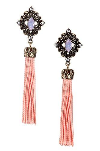 DIVA & DUCHESS BEAUTIFUL JEWEL ACCENT COLORED TASSEL DANGLE EARRING (Peach) (Disco Ball Diva Costume)