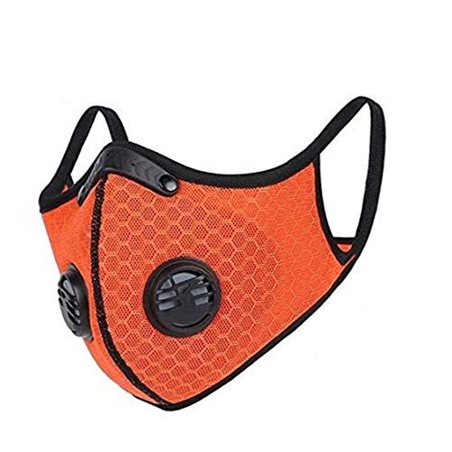Dukars Dust Mask Sports Mask, Activated Carbon Filtration Exhaust Gas Anti Pollen Allergy PM2.5 Workout Running Motorcycle Cycling Mask (#2 Orange)