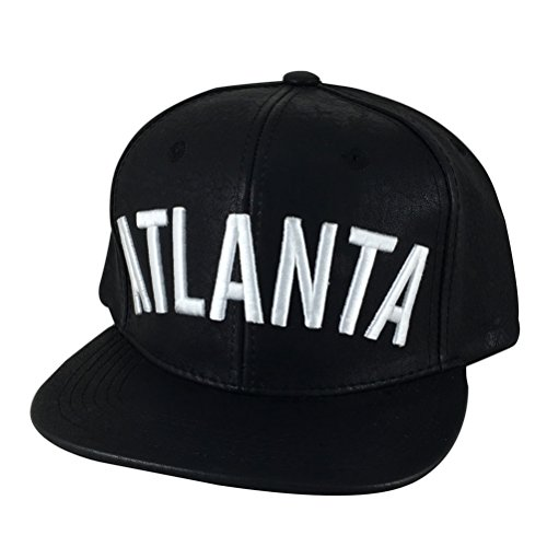 CapRobot N21 Atlanta City Leather Snapback Cap Hat - Black W