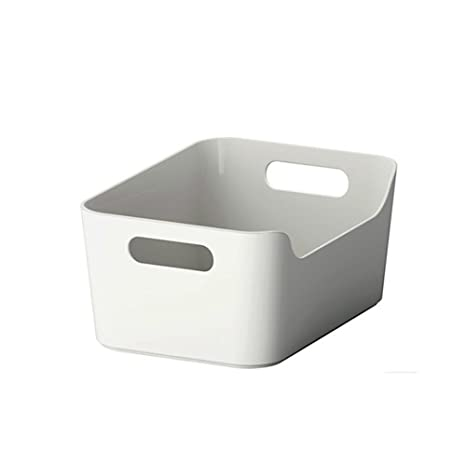 Open storage box,Kitchen Cabinet and Pantry Storage Organizer Bin - two  cut-out handles that make 9 4 x 6 75 x 4 3 Inches (Grey/White)