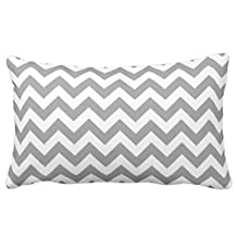 Standard Pillowcase Decorative Grey & White Chevron Stripes Pillow Cases 20x30 Inches