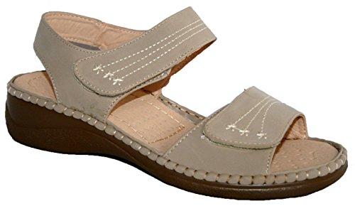 Annabelle Plus - Sandalias de verano para mujer, ajuste cómodo, doble tira con velcro Beige
