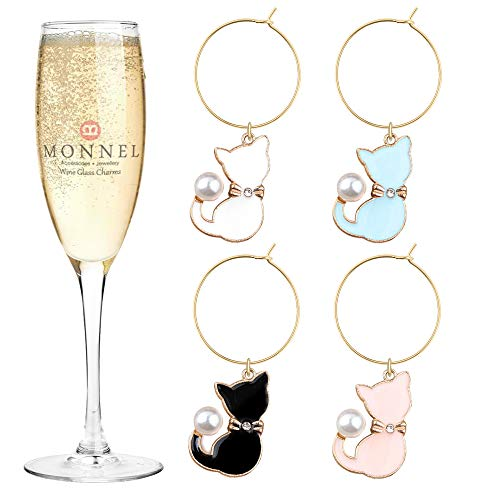 P421 Brand New 4-color Cat Pets Wine Charms Glass Marker for Party with Velvet Bag- Set of 4 4 Wine Glass Charms