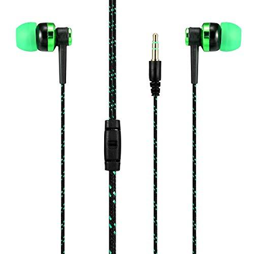 イヤホン 高音質 カナル型イヤホン 重低音 遮音性 コンパクト ステレオ カナル型 イヤフォン 有線 mp3 mp4 Android スマホ 対応 (緑)
