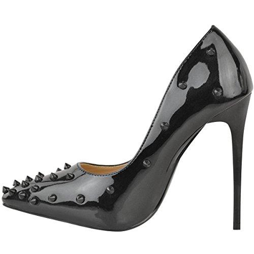 Mode Dorstige Vrouwen Rots Hoge Hakken Rechter Schoenen Nagel Stilettos Spike Pumps Maat Zwart Glinstering