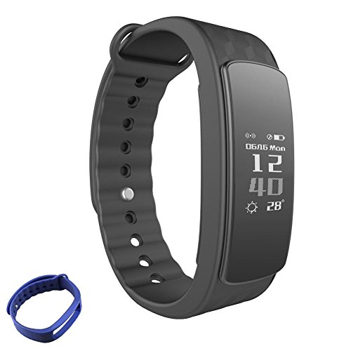 Waterproof Fitness Tracker ,Heart rate monitor Smart Watch Bracelet Wristband for Sports, Sleep Monitor HR Calories Pedometer with Bluetooth OLED 0.91