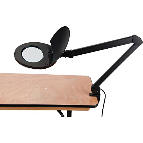 LED Magnifying Lamp With Covered Metal Arm, 8 Diopter, Black by Global Industrial