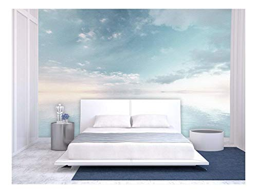 Large Wall Mural Oil Painting Style Landscape with Sky Reflected on the Calm Water Surface Vinyl Wallpaper Removable Wall Decor