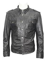 Men's Retro Trucker Style Casual Black Leather Shirt Style Denim Jacket